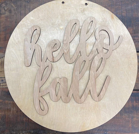 wooden doorhanger that says hello fall