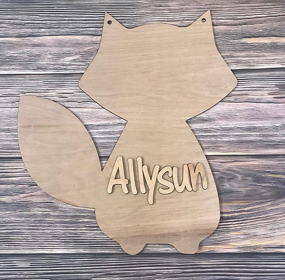 Monogram Door Hanger Fox Themed Decor