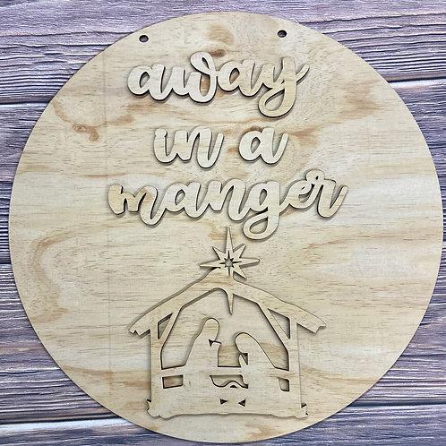 Away in a manger door hanger wooden laser cut