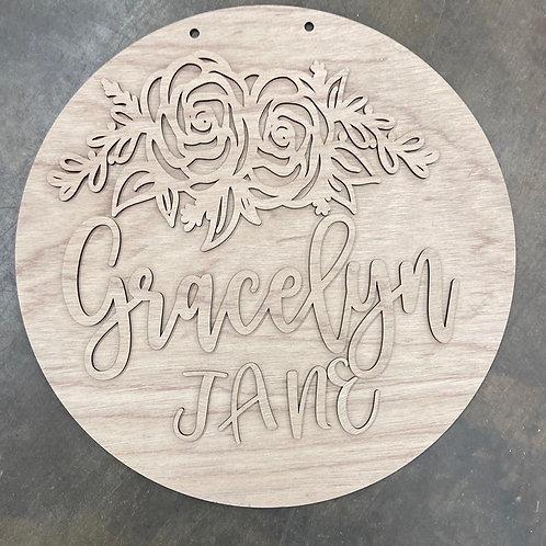 doorhanger wooden with custom name