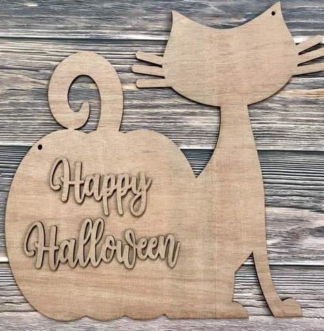 Cat and Pumpkin Home Decor Sign