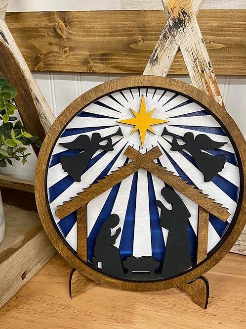 nativity scene on stand wooden