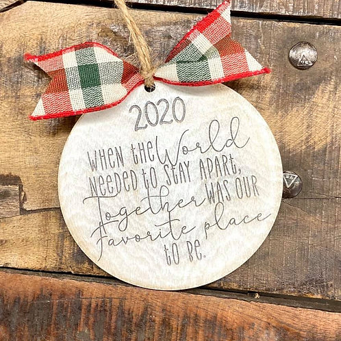 wooden christmas ornament 2020 with bow