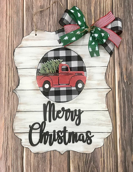 Merry Christmas vintage truck with Christmas tree sign with bow