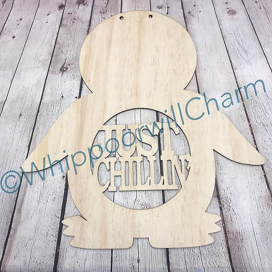home decor Just chillin Penguin sign