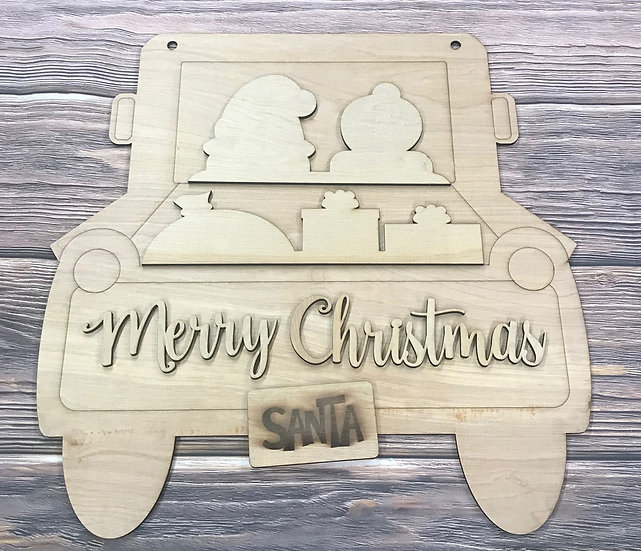 Santa and Mrs. Claus vintage truck merry Christmas sign