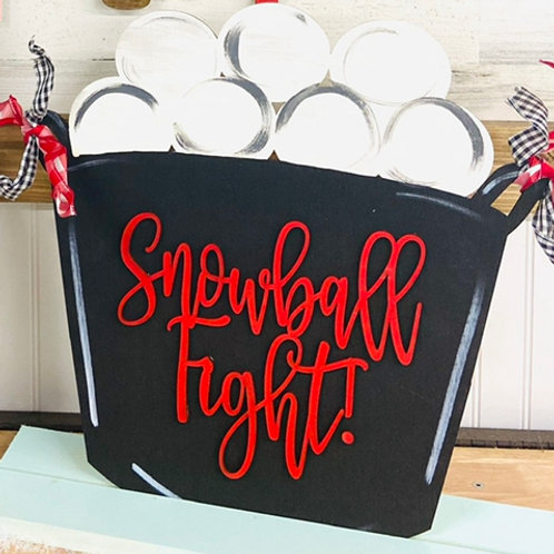 Painted Snowball Fight Stand Up Design