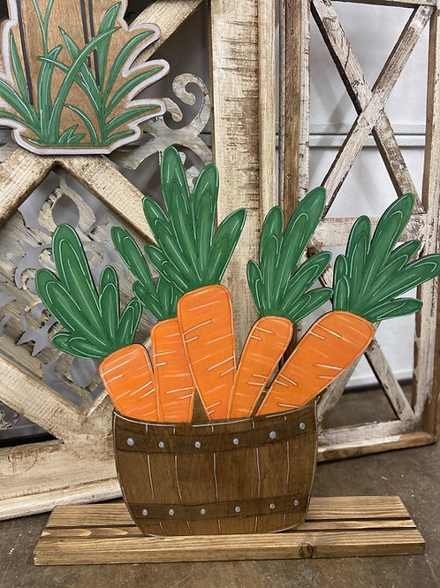 Stand up spring carrot bucket wooden porch sign