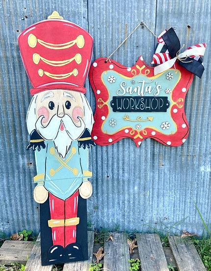 Nutcracker Home Decor Sign Wooden DIY Doorhanger