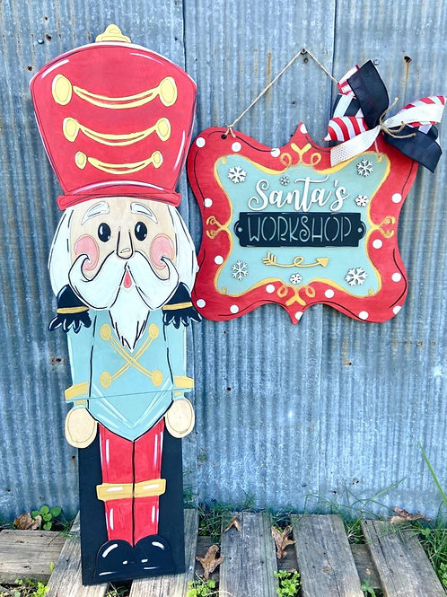 Nutcracker Home Decor Sign Wooden DIY Doorhanger