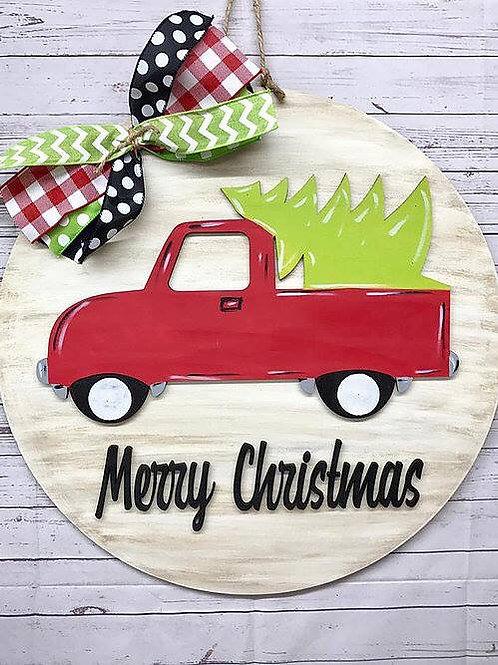 Merry Christmas Round doorhanger
