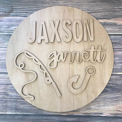 Fishing Home Decor Sign With Name and Fishing Rod