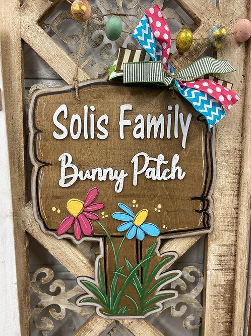 Doorhanger Bunny Patch Sign