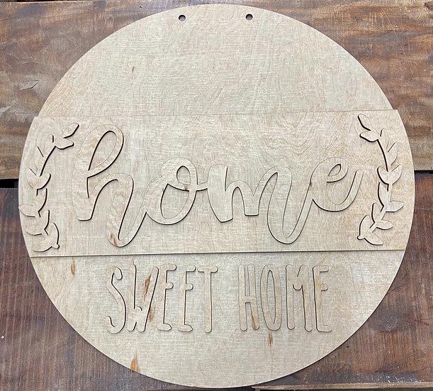 Home sweet home doorhanger wooden