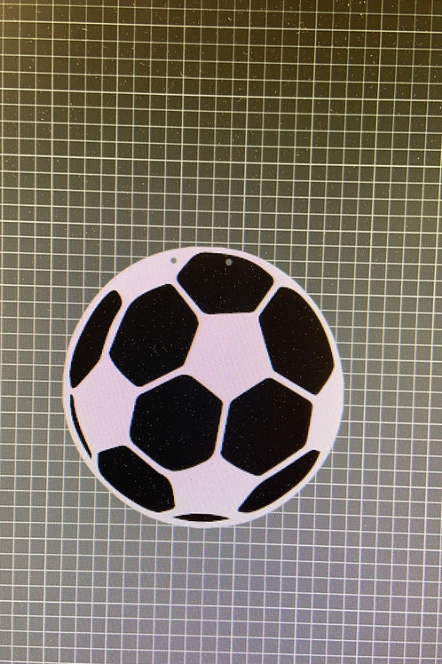 Soccer ball with etched lines and base