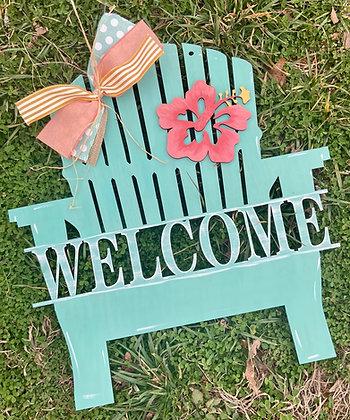 painted adirondack chair doorhanger design says welcome'