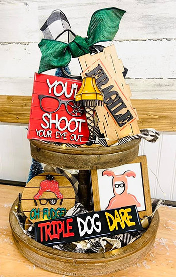 A Christmas Story Wooden Tray Set Decorations