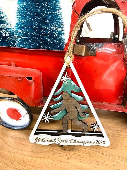 hide and seek champion ornament big foot wooden ornament