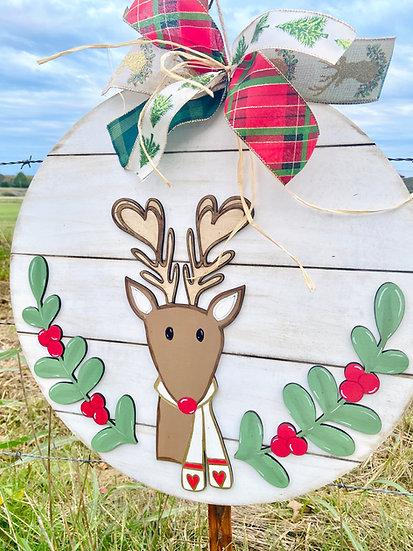 Reindeer Doorhanger Wooden Slatted