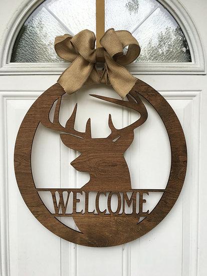 welcome deer door hanger