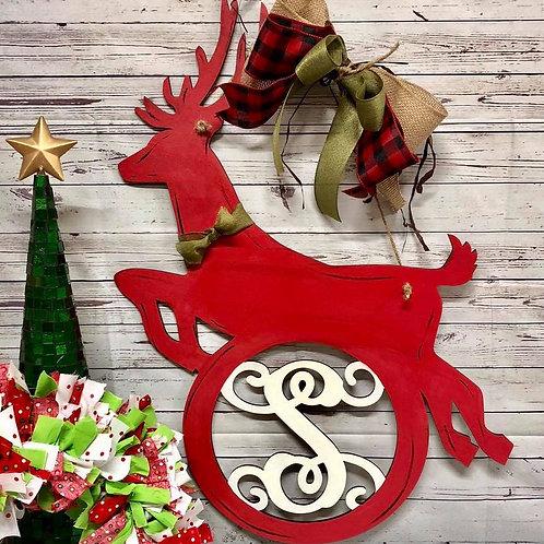 reindeer monogram home decor painted red