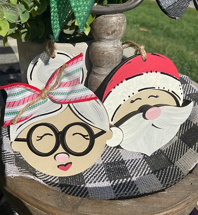 Ornaments Wooden Mr. and Mrs. Claus