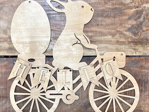 Spring Bunny on bike doorhanger Easter Egg wooden