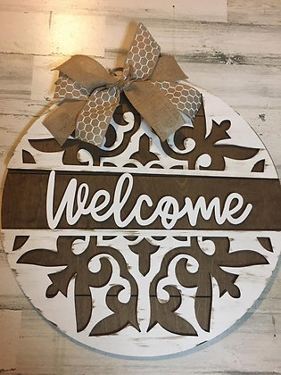 painted and stained porch doorhanger