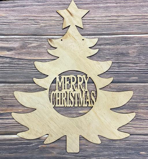 wooden door hanger merry Christmas tree