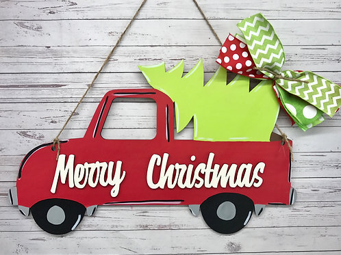 Side view Christmas Tree Truck Home Decor Sign