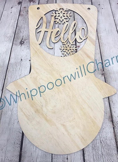 snowman with monogram hat sign