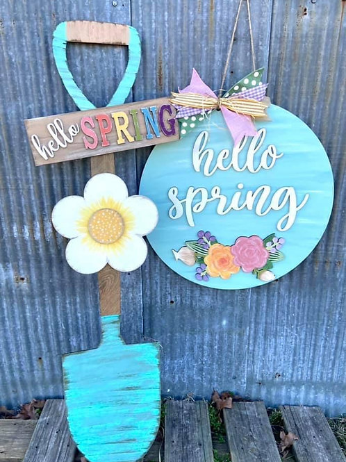 hello spring shovel themed spring porch leaner