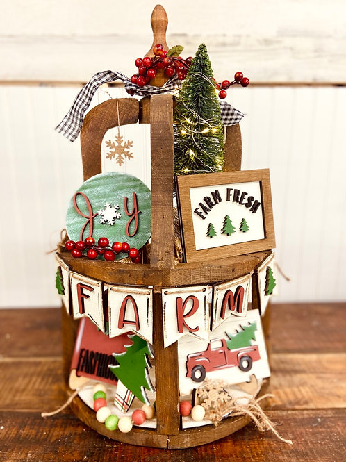 Unfinished Christmas Tiered Set ( Tray Not Included)
