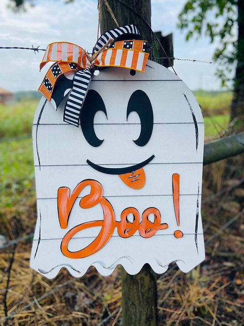 Ghost doorhanger design white and orange