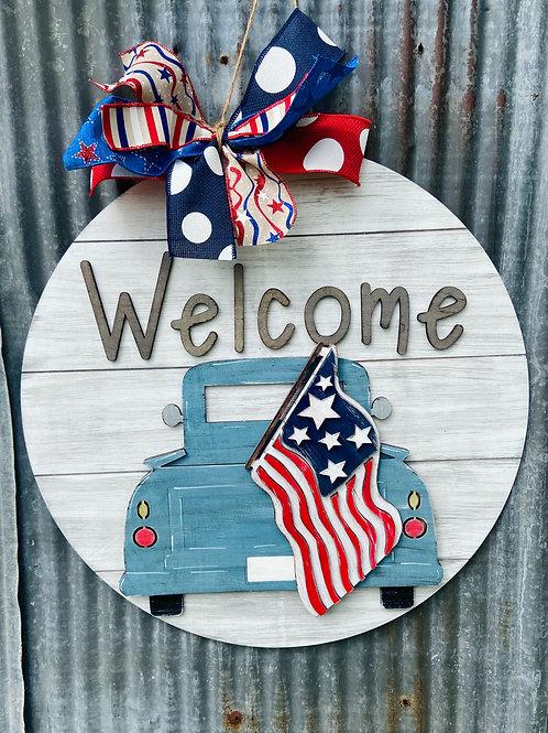 Welcome patriotic truck