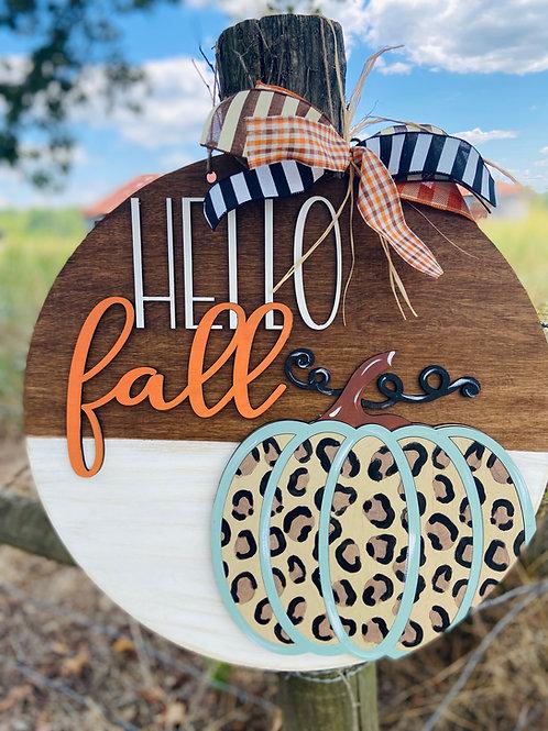 Hello fall leopard circle