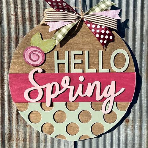Wooden doorhanger Hello Spring