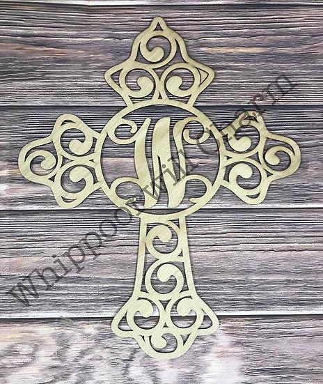 wooden filigree cross sign unpainted view