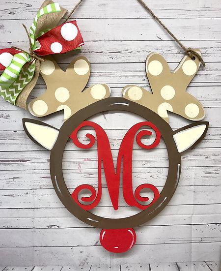 Rudolph monogrammed door hanger