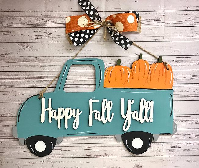 Fall truck with pumpkins