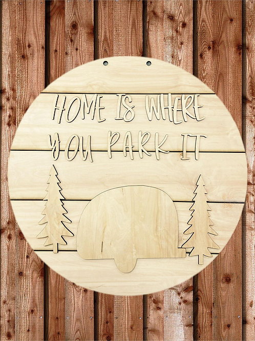 Camper Doorhanger Wooden