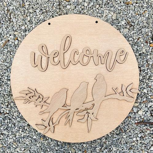 Welcome bird sign wooden doorhanger unpainted