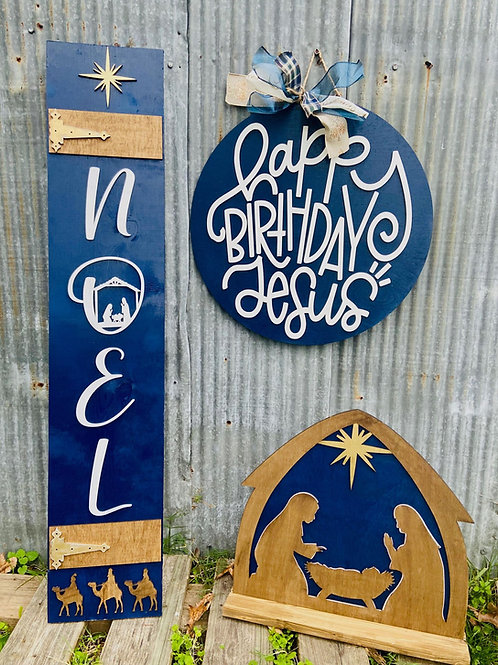 Nativity Set STand Up wooden design