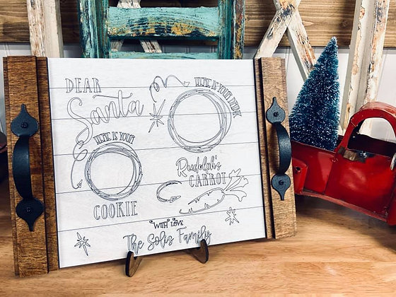 Wooden Christmas Tray says christmas cookies for santa