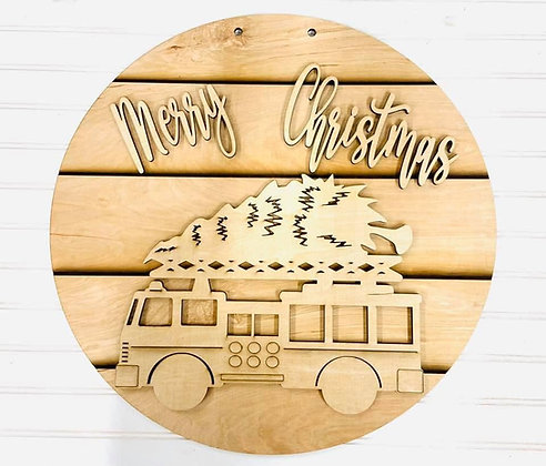Wooden Doorhanger with fire truck and christmas tree