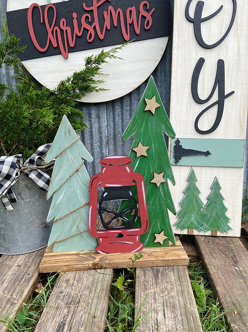 PAINTED Stand Up Christmas Lantern