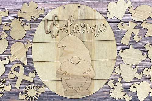 Interchangeable Gnome Door Hanger-Unpainted- 19 Shapes