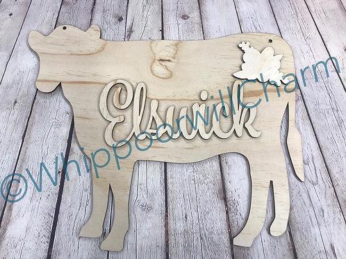 cow door hanger with monogram name