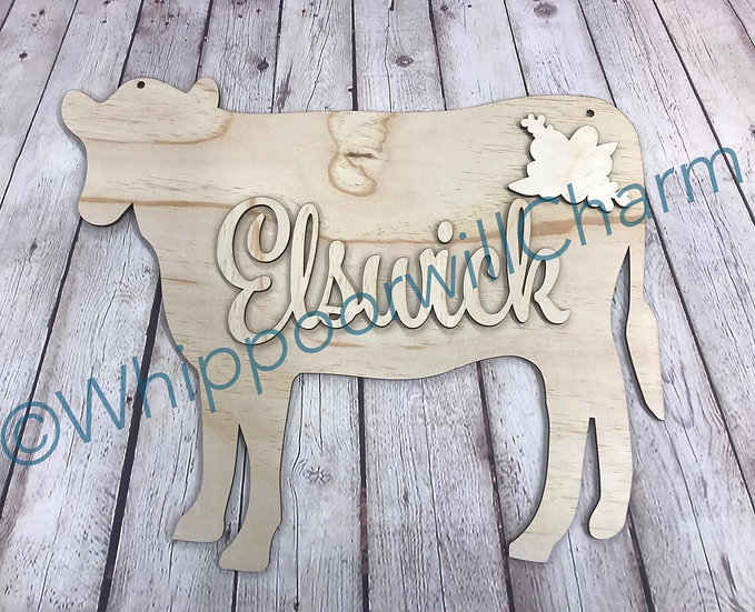 cow door hanger with monogram name