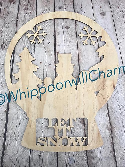 Snowman Snowglobe Doorhanger